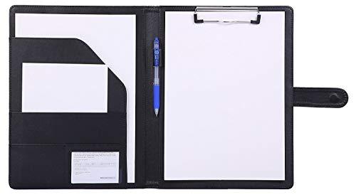 Bloc de notas,Carpeta A4,Carpeta clip,carpeta piel,Portapapeles para Carta estándar de Papel A4, Portafolios de cuero sintético con bolsillo interior (Marrón, Negro, Azul)