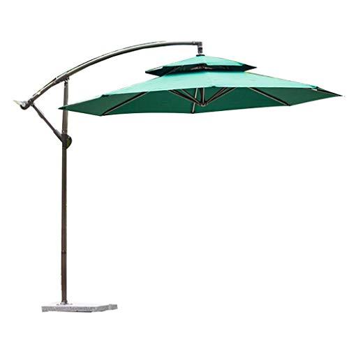 HUAQINEI Paraguas al Aire Libre/Paraguas de jardín/Paraguas publicitario,ABS Plástico Hierro Montado a Mano Suspensión Compensada de diseño Superior Doble con Base de mármol,Estilo Moderno