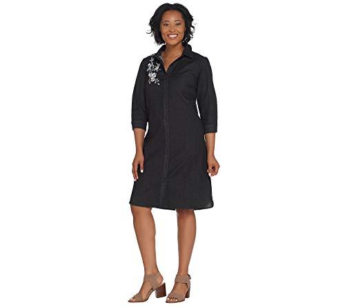 Bob Mackie Floral Embroidered Denim Shirt Dress Plus Size 1X Black Bob Mackie 2 via @amazon