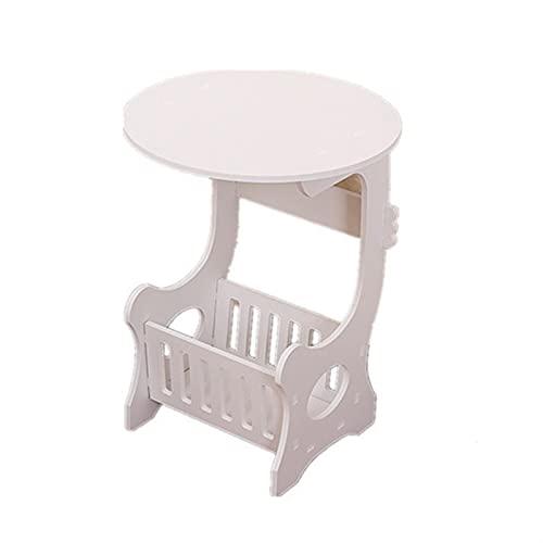 SHUJINGNCE Table à thé de café Rond en Plastique Maison Salon de Rangement Table de Chevet Blanche 2021 Nouveau # 09 (Color : White)