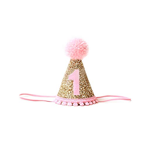 Ruiting Mädchen Geburtstag Hut Mädchen Pink 1. Geburtstag Krone Partyhut Baby Mädchen Geburtstag Zubehör 1 stück.