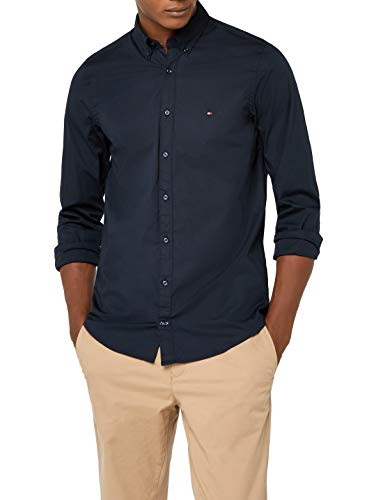 Tommy Hilfiger Herren CORE Stretch Slim POPLIN Shirt Freizeithemd, Blau (Sky Captain 403), Large