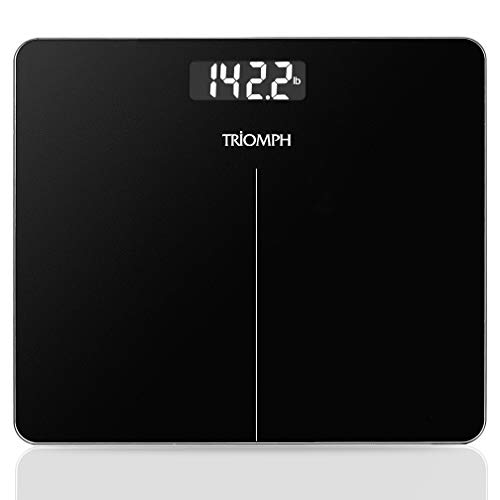 Digital Body Weight Bathroom Scale  Upgraded High Accuracy Measurements 400 Pounds Capacity by Triomph Black