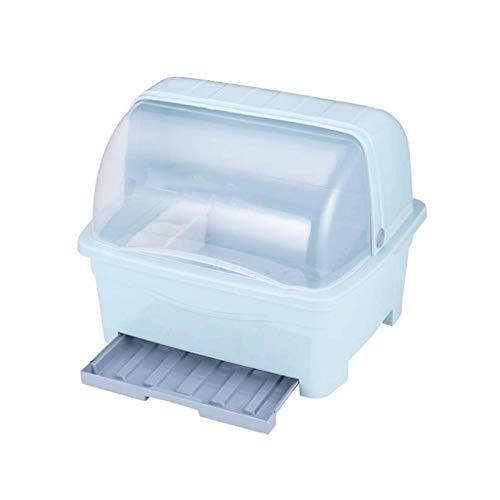 GAONAN Caja de almacenamiento de vajillas, bastidor de drenaje de platos de cocina, caja de almacenamiento de vajillas para el hogar plato de plato de plástico con tablero de drenaje y base Rejilla de
