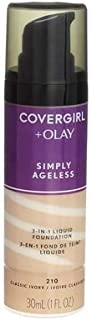 CoverGirl and Olay Classic Ivory 210 Simply Ageless 3 in 1 Liquid Foundation -- 2 per case.
