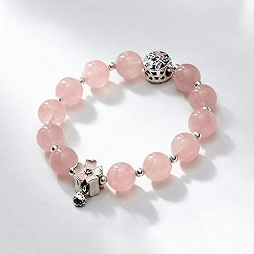TETHYSUN Ladies Bracelet Pulsera Natural Rosa Cristal Pulsera Melocotón Femenino Peluche Transit Bead Joyería de Plata Sakura Pulsera Regalo Día de San Valentín Mujeres