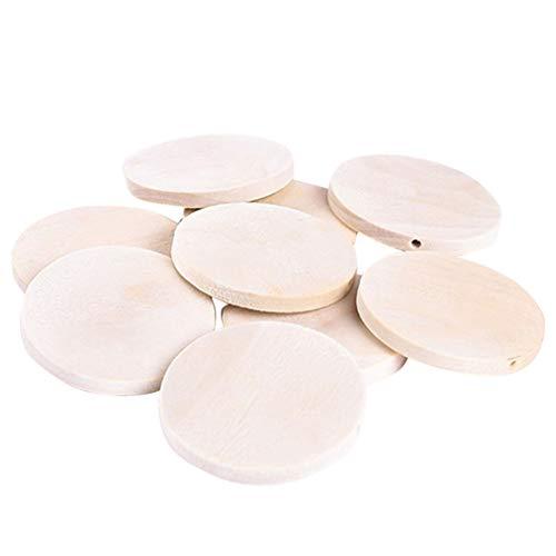 Happyyami 100 Piezas Pendientes de Madera sin Terminar con Agujeros Discos de Madera Redondos en Blanco Círculos Recortes Etiquetas de Favor Adornos Colgantes para La Fabricación de Joyas