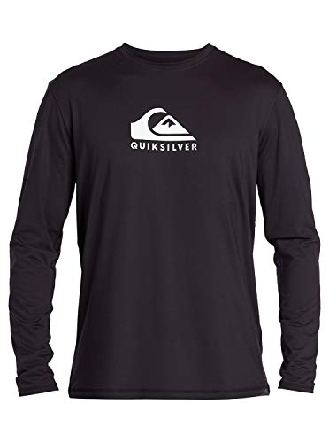 Quiksilver Herren SOLID Streak LS Long Sleeve Rashguard SURF Shirt Rash Guard Hemd, schwarz, Large