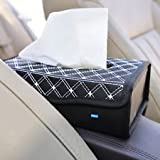 NIKAVI Portable Leather Rectangular Tissue Cover Box Holders Case Pumping Paper Car Hotel Home Gift (White LINE)