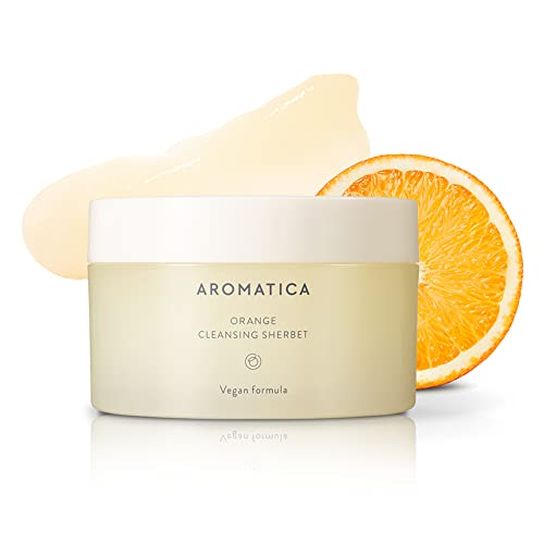 AROMATICA Orange Cleansing Sherbet 150g/5.29 oz   Clean Beauty 2021 Finalist   Cleansing Balm Makeup Remover   Sebum Balance   Melt-In Cleanser   Light Scent   Removes makeup, dust and other impurities   Suitable for all skin types