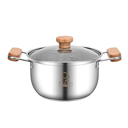 Double Wood Handle Stainless Steel Stockpot with Glass Lid, Multi-Ply Clad Stainless Steel Saucepan with Interior Measurement Markings for Cooking Pasta, Soup, and Stew (2 QT) (3 QT)