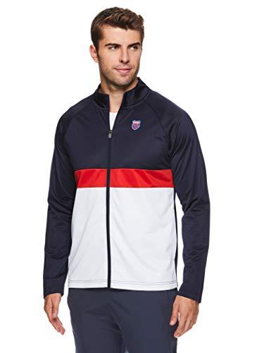 K-Swiss Men's 1/4 Zip Pullover Track Jacket - Long Sleeve Running & Warmup Top - Top Shot Navy Blue, Small
