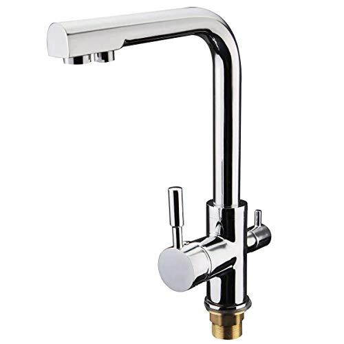 Pyrojewel Grifo de la cocina de filtro dual cocina de la palanca de 3 vías de agua de mezclador del grifo del fregadero lisa y diseño amigable refinado de flujo flexible Moderno cromado grifo de muebl