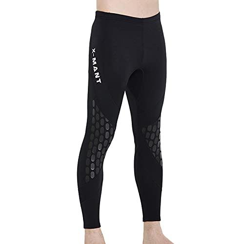 TSMALL Pantalones de Buceo de Neopreno de Alta Elasticidad de 1,5 mm, Traje de Neopreno cálido para Hombres, para Nadar, remar, navegar, Surfear,Negro,L