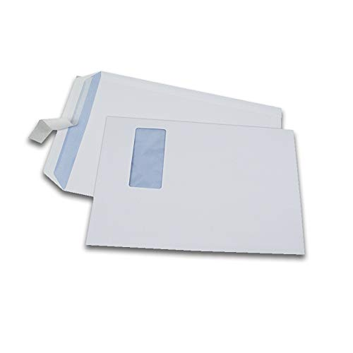 Boîte de 250 pochettes blanches C4 229x324 90 g/m² fenêtre 110x50 bande de protection