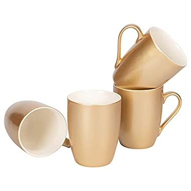 Vegas Gold-Tone Metallic Finish 10 Oz. New Bone China Coffee Cup Mug Set of 4