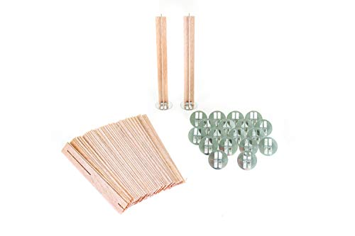 ValesaVales DIY 20 Pack Set of 130 mm / 5.1 inch Cross Wooden Core Wax Wicks Complete with Metal Base Anchor Holders for Handmade Candle Making