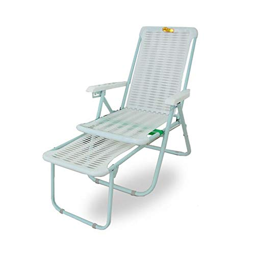 JJSFT Thick Lounge Chair Sun Lounger Folding Relaxer Chair Summer Patio Bed,Plastic Reclining Chair/Beach Chair/Lazy Siesta Chair/Lunch Break Chair (Color : 2)