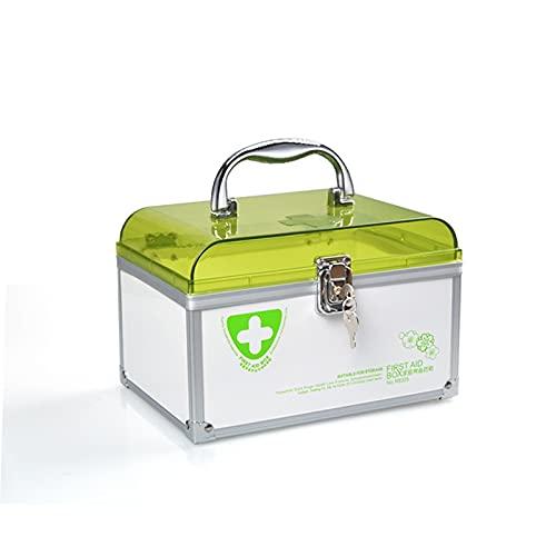 Kit de primeros auxilios portátiles, caja de almacenamiento de almacenamiento familiar con asa, gran capacidad, caja de medicina de emergencia multifunción ( Color : Green , tamaño : 215x149x140MM )