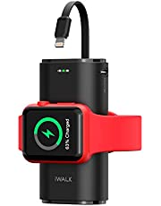 iWALK Bärbar Apple Watch-laddare, 9 000 mAh powerbank med inbyggd kabel, Apple Watch och telefonladdare, kompatibel med Apple Watch Series 6/Se/5/4/3/2, iPhone 12/12 mini/11/Xr/Xs/X/7/6s, svart