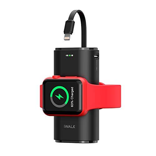 iWALK Cargador Portátil de Apple Watch, 9000mAh Banco de Energía con Cable, Cargador de Apple Watch y Teléfono, Compatible con Apple Watch Series 6/Se/5/4/3/2, iPhone 12/12 mini/11/Xr/Xs/X/7/6s, Negro