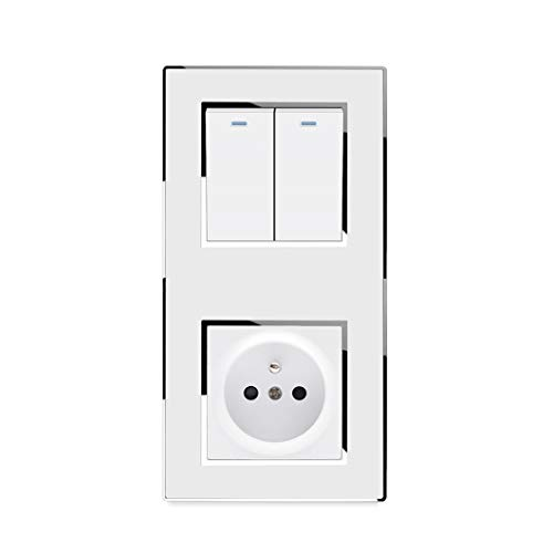 Interruptor vertical de 2 vías y 2 vías con enchufe francés de la UE, tomacorriente eléctrico de pared de lujo, espejo, Panel acrílico 16A AC 110~250V Wall Socket 110-250V