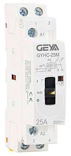 Contactor 2x 25A a 220V con selector ON/Auto/Off. Carril DIN cuadros domótica. automático/manual