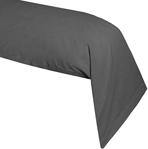 Lovely Casa T34820010 Alicia Taie de Traversin Coton Anthracite 185 x 45 cm