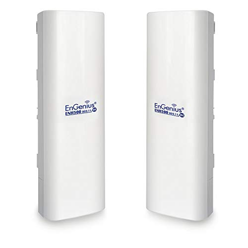 EnGenius Technologies ENH500v3 Wi-Fi 5 Wave 2 Outdoor AC867 5GHz Plug-n-Play Wireless Bridge, PTP/PTMP, IP55, 27dBm, 16 dBi High-Gain Antenna, Long Range up to 5 Miles, Gigabit Port [2-Pack]