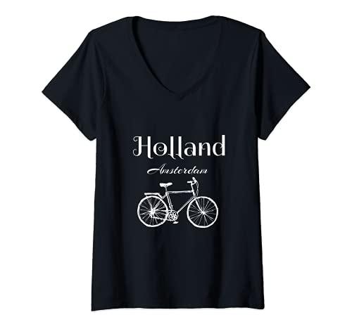 Donna Holland Amsterdam Bike Maglietta con Collo a V