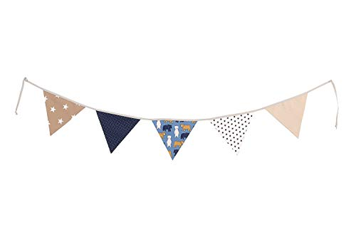 guirnalda de tela: 1,25 m; 3 banderines; decoraci/ón para la habitaci/ón de los ni/ños; fiestas de bienvenida para beb/és Guirnalda de banderines de ULLENBOOM /® con menta gris