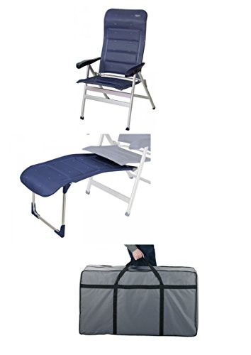 Crespo XL Fauteuil pliant haut de gamme rembourré avec repose-pieds et sac de transport Bleu