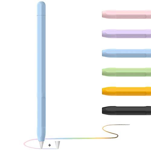 YINVA Apple Pencil Hülle Apple Pencil Case, Silikon Schön Weicher Stift Grip Griff mit Ladekappe Kappe und Pen Nib Spitze Schutzhülle (2. Generation, Blau)
