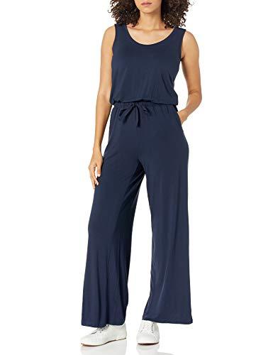 Amazon Essentials Sleeveless Scoop-Neck Wide-Leg Jumpsuit Tuta, Blu Marino, M