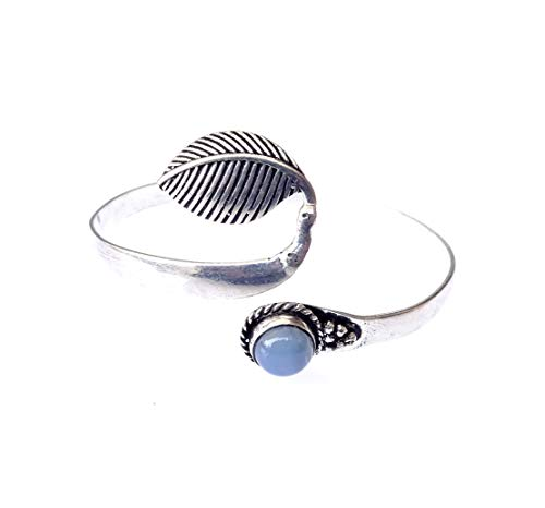 Bracciale polsino in argento sterling per donna ragazza unisex pietra preziosa calcedonio blu autentico stile vintage fatto a mano bracciale polsino zingaro raffinato braccialetto gotico regolabile