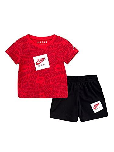 Nike JDB AOP TEE & SHORT SET, camiseta y pantalón para niño, rojo/negro, 18 meses