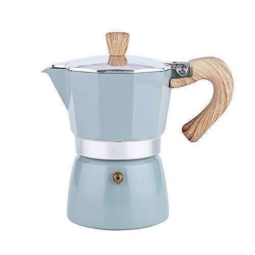 Cafetera exprés, 6 Tazas de cafetera Moka Espresso Italiano para Estufa de cerámica a Gas o eléctrica, cafetera para Capuchino o café con Leche, Azul Verde