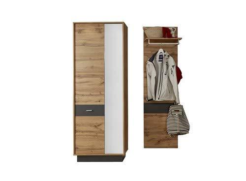trendteam smart living Garderobe Garderobenkombination 2-teiliges Komplett Set Coast, 134 x 191 x 35 cm in Wotan Eiche Dekor, Absetzung Ablage Grau mit LED Beleuchtung