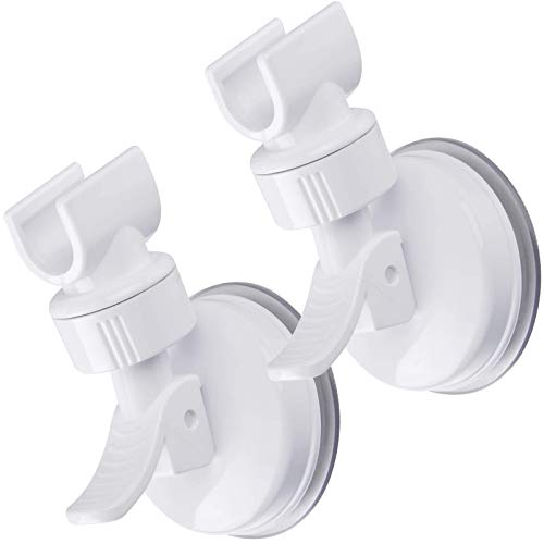 OUO Adjustable Shower Head holder, Bathroom Suction Cup Handheld Shower head Bracket, Removable Handheld Showerhead & Wall Mounted Suction Bracket (2pcs white)