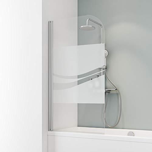 Schulte D1650 Duschwand Komfort, 80 x 140 cm, 5 mm Sicherheitsglas Liane, chromoptik, Duschabtrennung für Badewanne