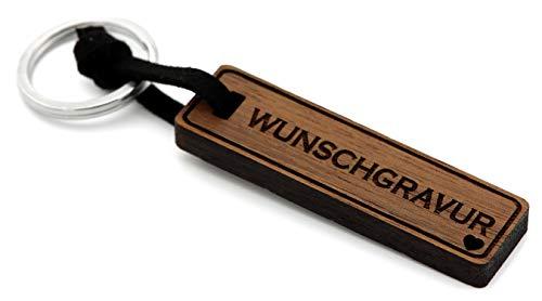 NaturSchatulle Schlüsselanhänger aus Holz mit individuelle Gravur Nussbaumholz mit Edelstahl Schlüsselring Band Schlüsselbund Geschenkidee
