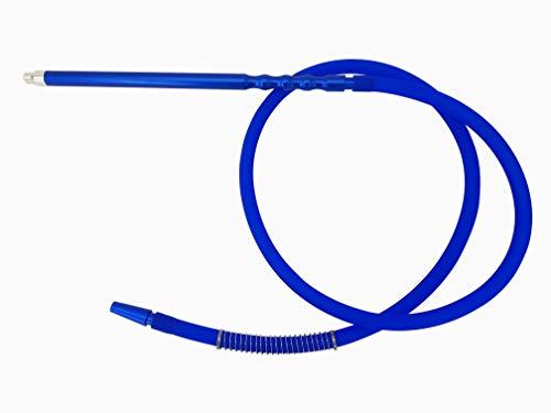 Manguera de silicona para cachimba con conectores de aluminio. 1,91 metros (Modelo N11). Dos colores (azul)