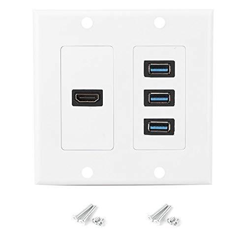 Liineparalle 3USB3.0-poort + HDMI-poort wandplaat US Standaard informatiepaneel voor thuis