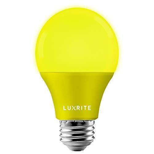 Luxrite - Bombillas LED A19 de color amarillo, equivalente a 60 W, no regulable, con certificación UL, base estándar E26, para interiores y exteriores, porche, decoración, fiestas, vacaciones, eventos, iluminación del hogar