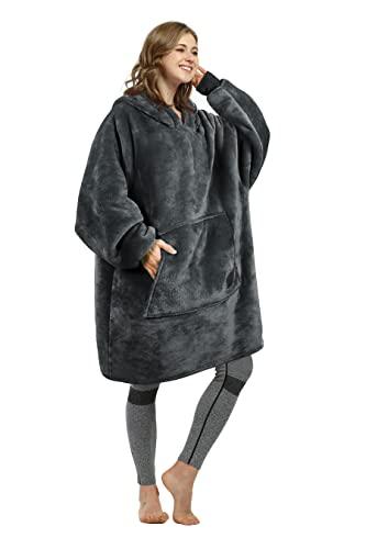 Catalonia 着る毛布 ポンチョ フード付き もこもこ パーカー 冬 ガウン 着るブランケット 防寒 部屋着 ルームウェア レディース メンズ Mサイズ(着丈96cm) グレー
