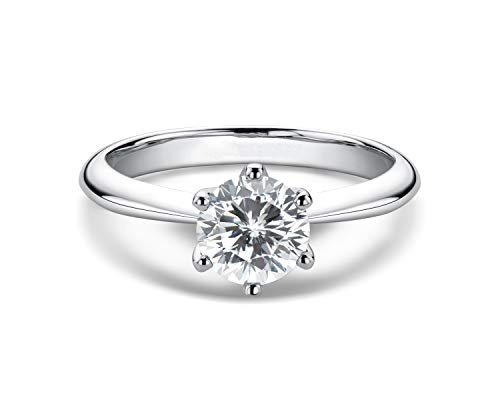 WOAINI 0.5-3 Carat Moissanite Ring, Platinum Plated Sterling Silver Round Cut Solitaire...
