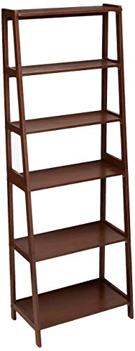 Amazon Basics – Estantería abierta de estilo clásico de 5niveles con madera de caucho macizo, Nuez