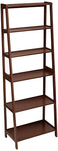 AmazonBasics - Libreria aperta a 5 livelli, classica, in legno massello dell'albero della gomma – Noce