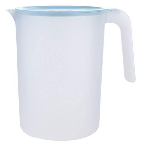 Cabilock Jarra de plástico con escala de tapa de 2,5 L, mango caliente/frío, jarra de agua y jarra de té helado, color azul