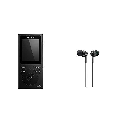 Sony NW-E394 Walkman 8GB (Speicherung von Fotos, UKW-Radio-Funktion) schwarz & MDR-EX110LPB geschlossene In Ear Kopfhörer schwarz